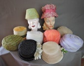 Lot of 10 Vintage Hats, 1960s Hat Lot, Floral, Fabric, Straw, Turban Tulle