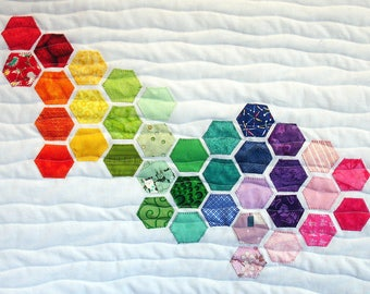 Quilted Wall Art, Hexagon Art Quilt, Table Topper - Sea Glass Rainbow