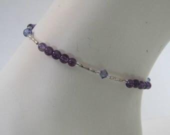 Amethyst Anklet,  Foot Jewelry,  Beaded Ankle Bracelet, Purple , Body Jewelry, Gemstone , Size 10.5  February  Birthstone,MInimalist,, #1270
