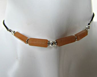 Aventurine Choker, Beaded Choker Necklace, Reddish Orange, Body Jewelry, Gemstone, BOHO Choker Necklace, MInimalist, Bohemian, #1275