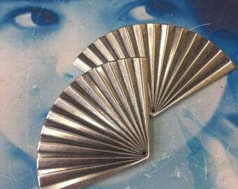 Sterling Silver Ox Plated Patina Brass Art Deco Fan Drops 19SOX x2