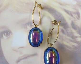 Vintage Czech Glass Sapphire Aurora Borealis 13x18 Cabochon Earring Kit Options 2190GOL x2