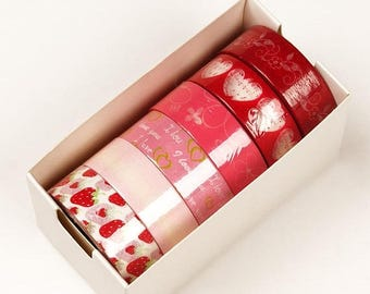Summer Sale 6 piece packs 10 Yards of Colorful Love and Hearts Pattern Washi Tape Assortment