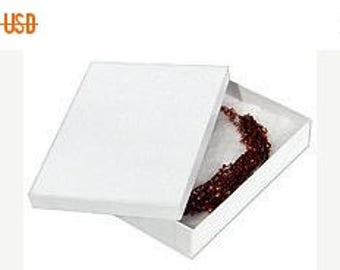 STOREWIDE SALE 50 Pack of Cotton Filled White Foil Swirl Jewelry Gift Presentation Boxes 7.15X5.15X1.15 Inch Size