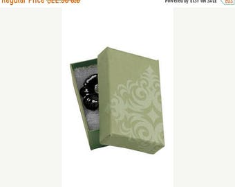 New Years Sale 50 Pack of 2.5X1.5X7/8 Inch Size High Quality Sage Damask Cotton Filled Jewelry Presentation Boxes