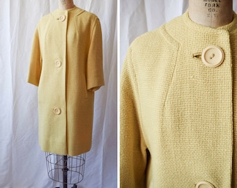 The Globe Trotter | Vintage 1950's Coat Pale Mustard Yellow Wool Jacket Basket Weave Texture Large Buttons Pockets 50s Marshall Fields Sz. M