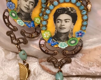Lilygrace Frida Yellow Cameo Earrings with Vintage Rhinestones, Turquoise and Brass Birds