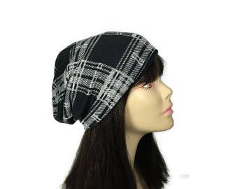 Buffalo Check Slouchy Hat Black and Gray Plaid Slouchy Hat Lightweight Knit Slouchy Hat Men's Slouchy Beanie Unisex Beanie Reversible Beanie