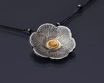 Sterling Silver and 14k Gold Ginkgo Blossom Necklace
