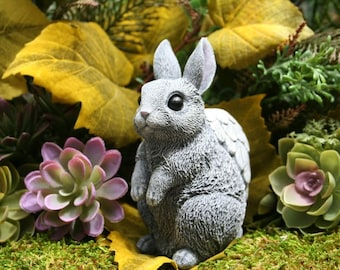 Angel Bunny Statue - READY TO SHIP Now - Bunny Memorial Statue - Rabbit Angel Garden Statue Made of Solid Concrete - Concrete Bunny