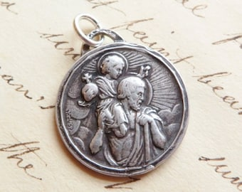 ON SALE St Christopher Medal - Patron of Travelers and Lifeguards - Antique Reproduction