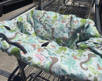 Shopping cart cover or High Chair Cover for boy or girl UNDER the OCEAN BLUE..... Shopping Cart Cover  Michaelmooodesign