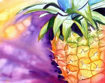 pineapple art,  8 x 10 prints, hawaiian pineapples, hawaii decor, pineapple watercolors, hawaiian pineapple paintings, hawaii maui oahu