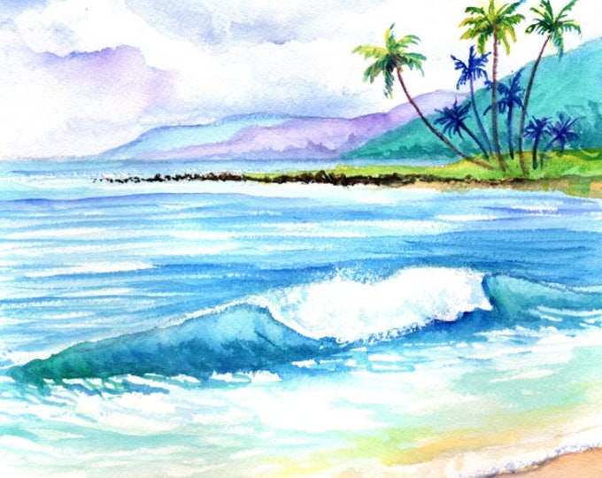 kauai art original watercolors paintings  hawaiian beach seascape ocean wave watercolour kauaiartist seascapes kauai fine art marionette