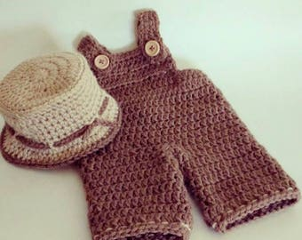 Newborn Overalls,crochet newborn overalls and hat