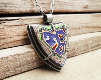 Fordite necklace, Detroit Agate necklace, fordite jewelry, girlfriend gift for wife, sterling silver statement necklace, metalsmith, purple