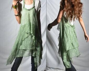 Ethereal feather - green cotton dress strap dress / zen layered tunic dress / idea2lifestyle boho tunic / hippie asymmetrical dress (Q6410)