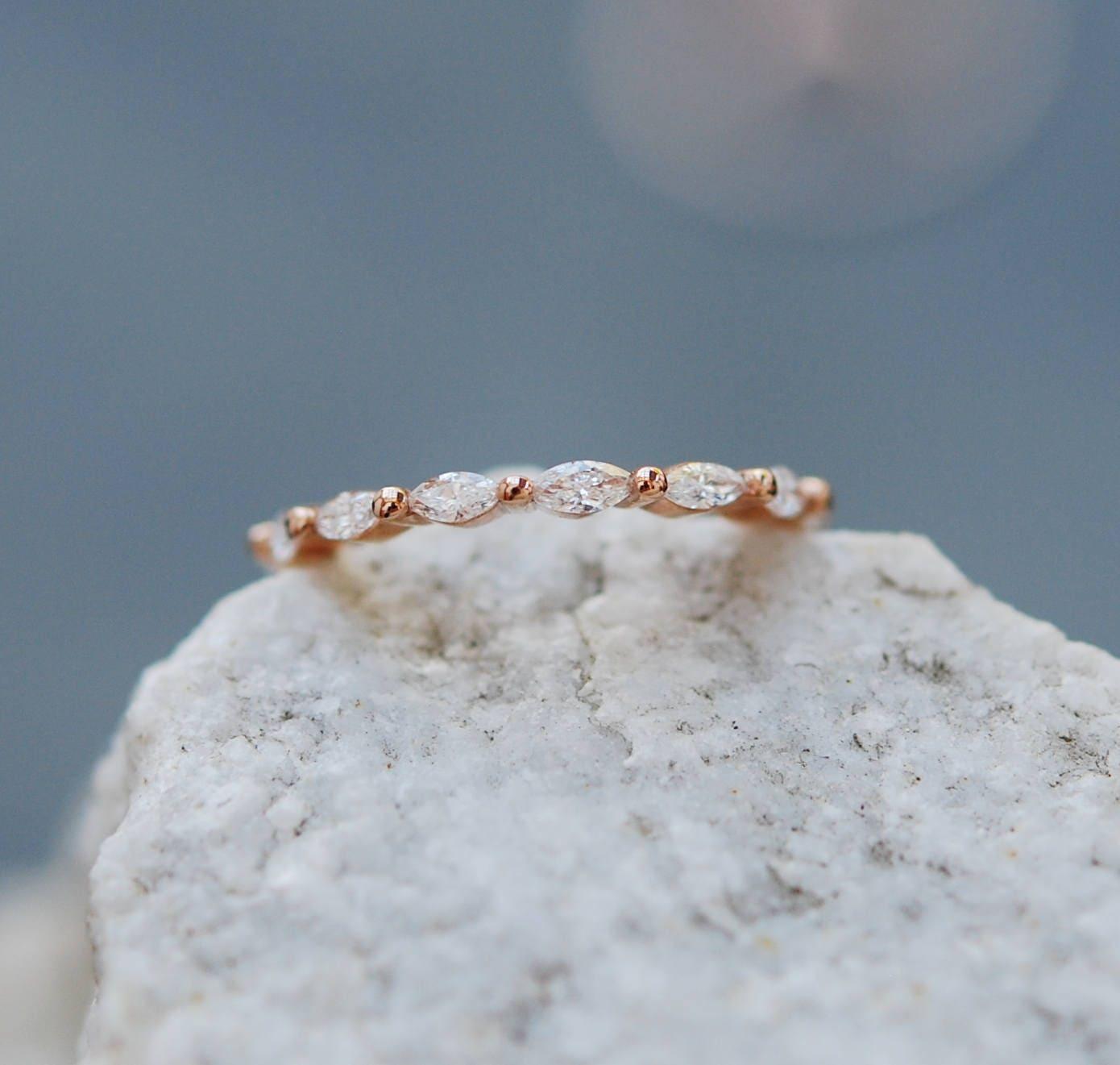 Unique Diamond Band Marquise Wedding Matching Rose Gold Eternity By EidelPrecious