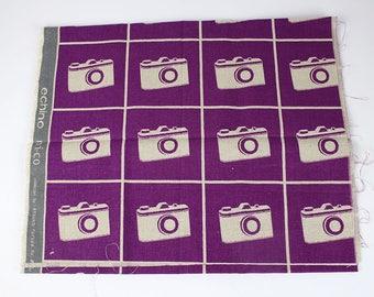 Rare, OOP Echino by Kokka purple camera fabric, 1/2 yard