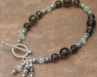 Genuine Smoky Quartz and Moonstone Sterling Silver Bracelet, Cavalier Creations
