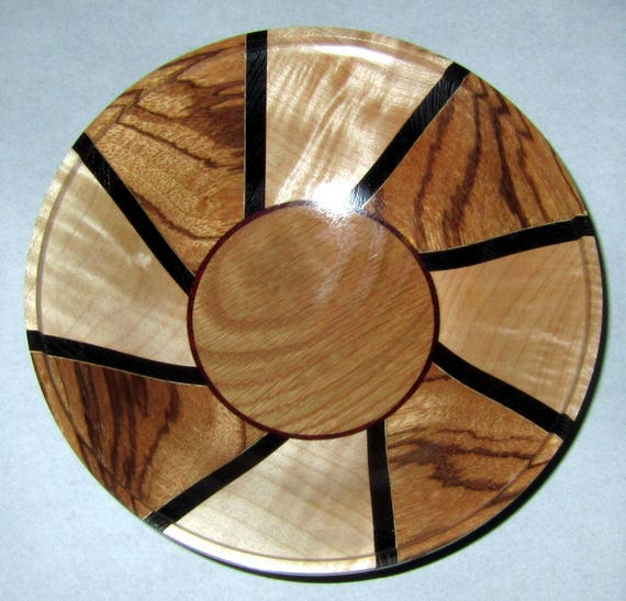 "Turned Wood Segmented Bowl – ""Bowlicity"" – Segmented Design with Zebrawood, Curly Maple and White Oak 37-17"
