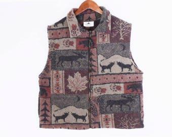 90's WOODLAND fleece vest // MOOSE // wolves // bears // vintage rustic camp jacket // L XL