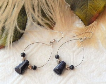 ChristmasInJulySALE..... SALE..........One of a Kind Sterling Silver and Blue Goldstone Earrings