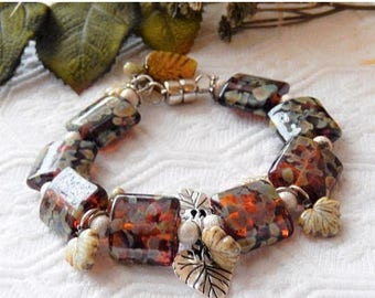 ChristmasInJulySALE..... Sale.......One of a kind Lampwork Glass, Sterling Silver, Ceramic & Czech Glass Plus Size Bracelet