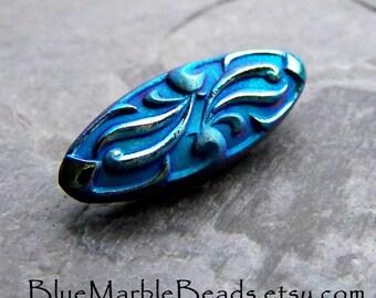 Art Nouveau, Bohemian Button, Boho Chic, Oval Glass Button, Vintage Button, Matte Glass, Metallic Finish, Peacock Blue , 1 Button