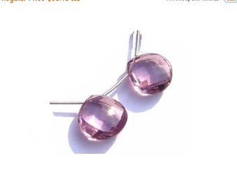 50% Off Sale Matched Pair - AAA Pink Amethyst Quartz Faceted Heart Briolettes Size 18x18mm High Quality Great Price