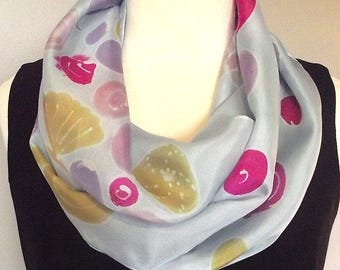Hand Painted Silk Infinity Scarf, Pale Lavender Blue with Shell Designs in Magenta, Purple, Gold and Pink