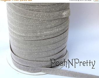 20% OFF EXP 06/30 5/8 Glitter Stretch Velvet Elastic 5 YARDS - No Flake - Frosty Light Gray