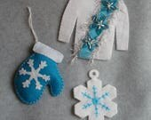 Embroidered Felt Christmas Ornaments OOAK Hand Stitched Ugly Christmas Sweater Mitten Felt Ornament Snowflakes Winter Ugly Sweater Turquoise