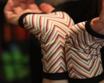 Mitten/Lycra Jersey stripe multicolor chevron cuff