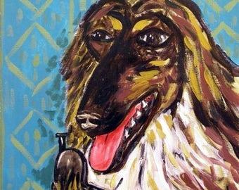 20% off Afghan Hound,afghan hound art, afghan hound tile, ceramic tile,modern dog art,folk art , dog, dog print, on tile