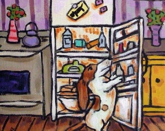 Basset Hound plündern den Kühlschrank Hund Kunst Tile Coaster
