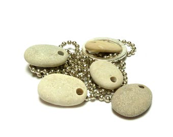 Genuine Drilled Beach Stones NOUGAT River Rock Supplies Natural Pebbles Recycled Earth Beads Jewelry Making Finds Plump Oval Pendants