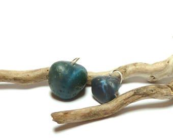 Drilled Beach Glass BLUE STREAK Stones Pebbles Sea Slag Glass Drilled Stones Leland Bluestone Slide Pendants