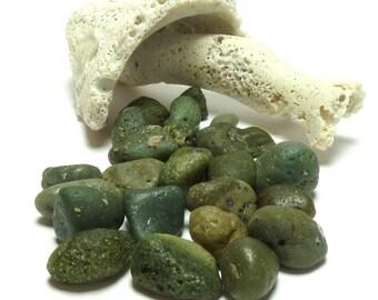 Slag Glass GREEN is the NEW BLUE Genuine Green Stones Lelandite Lapidary Wire Wrap Beach Glass Stones Slag diy Undrilled Lot