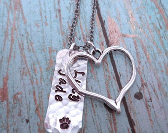 Pet Love Necklace- Pet Lover Jewelry - Pet Memorial Jewelry - Custom Pet Names-Dog Cat Love-Dog Lover Gifts-Personalized-Pet Loss Gift -P32