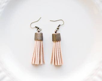 Tassel Earrings - Leather Tassels - Soft Tan Colored Leather - Ready to Ship