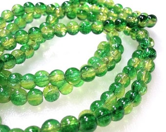 50% Off Green and Yellow clear Round Crackle 6mm Glass Beads, a Strand is 32 inches, approx 134 Round Yellow and Green Glass Beads 6mm. GBW