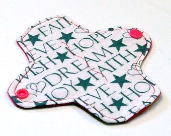 """6"""" Reusable Cloth winged ULTRATHIN Pantyliner - Cotton flannel top - Faith and Joy"""