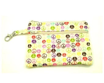 Summer Clearance Larger Zippered Wallet Change Purse Gadget Case Small Peace Signs on Cream