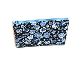 Cosmetic Case, Cord Case, Bridesmaid Gifts, All-Purpose Zipper Case, Small Blue Floral 9046