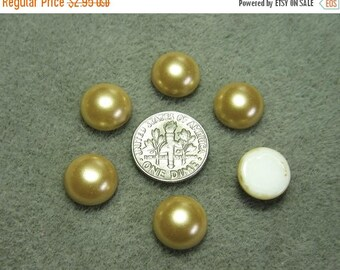 On Sale Vintage Czech Pearlized Gold 12mm Domed Round Glass Flat Back Cabochons (6)