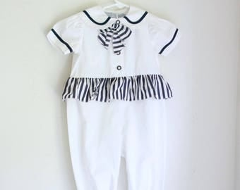 Vintage girls romper sailor style blue and white 18 months