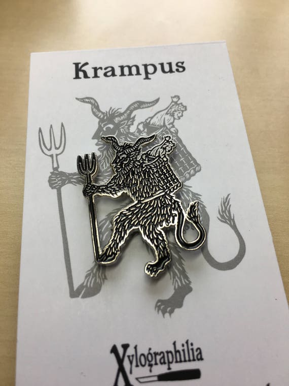 Krampus the Christmas Devil enameled artist lapel pin