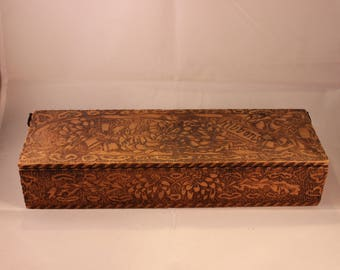 Vintage Wood Pyrography Ribbon Box