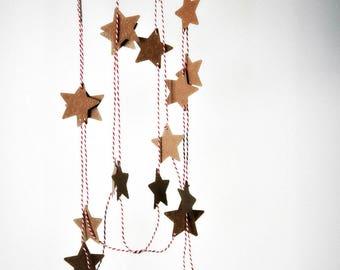 Rustic Star Garland | Embossed Kraft Star Garland | Star Garland | Paper Decoration | Holiday Decor | Gift under 20 | Christmas in July